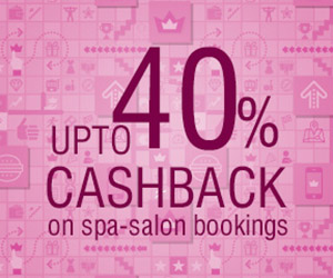 Upto 40% cashback on salon services